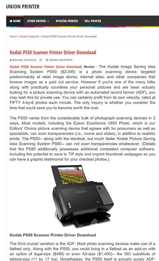 01/31/2016 | Union Printer Reviews Kodak PS50 Scanner